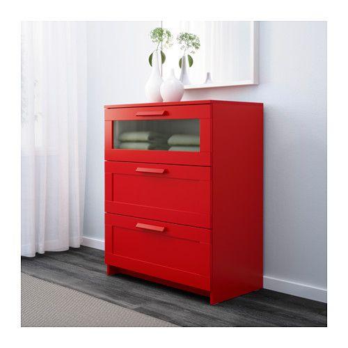 БРИМНЭС Комод с 3 ящиками - красный/матовое стекло - IKEA