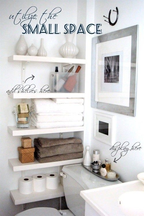 Small bathrooms need sensible storage. Add shelves and store items that you will need on a regular basis neatly. Add a little touch of elegance with some perfumes or spray bottles, #DIY #HomeDecorIdeas.