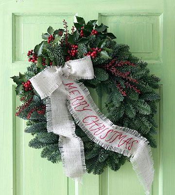 christmas wreathsChristmas Wreaths, Doors Wreaths, Burlap Ribbons, Ribbons Wreaths, Burlap Bows, Christmas Decor, Christmas Ideas, Winter Wreaths, Merry Christmas