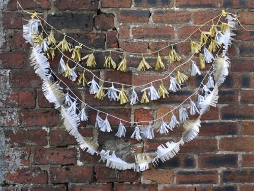 Silver ~ Gold Metallic mix tiny tassels and fringe! Handmade paper party decorations by Paper Street Dolls  Check out our store - paperstreetdolls.etsy.com