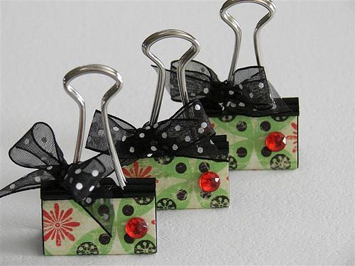 Decorated binder clip