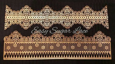 ANTIQUE/CHANTILLY (2 piece set) Cake Lace Edible Sugar Lace Claire Bowman - Free Shipping (Black, Gold, Silver, Pink, Red, Pearl White)