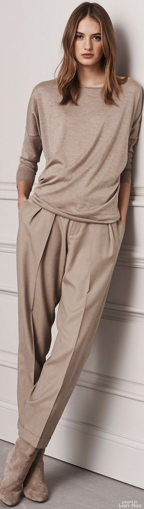 Ralph Lauren Pre-Fall 2016 I really love the taupe-mushroom color and the soft comfortable feel of this set