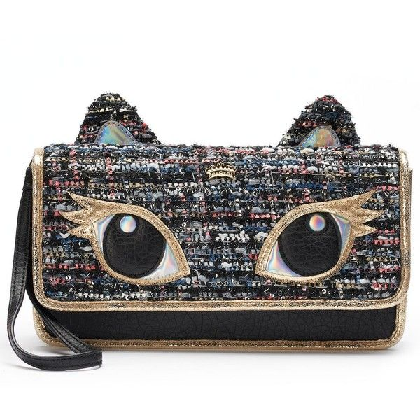 Juicy Couture Cat Clutch (Black) (€32) ❤ liked on Polyvore featuring bags, handbags, clutches, black, sparkly purses, cat purse, tweed handbag, juicy couture purses and pattern purse