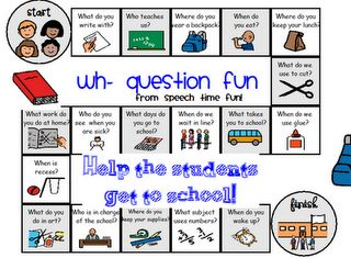Free!! WH question fun back to school gameboard thanks to speechtimefun !
