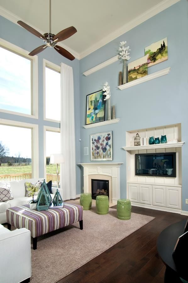 Clean Blue Family Room Napa Plan Our Model Homes In Charlotte Nc And The Surrounding Area