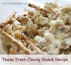 Texas Trash, white trash candy recipe, football snacks, candy, white chocolate