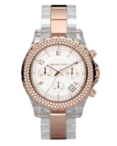Michael Kors MK5323 Women's Classic Watch Clear acrylic and rose golden bracelet.. Rose golden color bezel adorned with crystal insets.. White face with rose golden time stops and crystal accents.. 1 1/2 case.. Three-hand movement.. Three sub-dials.. Date window.. Stopwatch function.. Imported..  #Michael_Kors #Watch