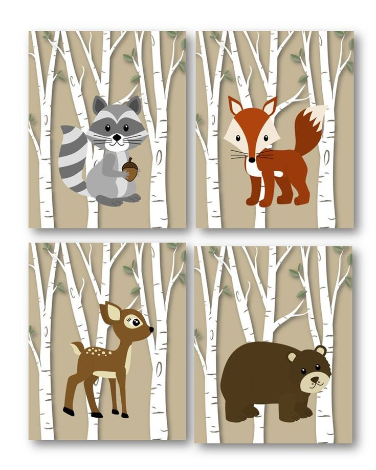 Woodland Animal Decor, Forest Friends in 5x7 or 8x10 or 11x14 nursery art, cute for a baby shower gift  Great for your childs Playroom, Nursery, or Toddler bedroom. Great baby shower gift as well.  This listing is for four (4) Prints Only.  **Please note that Mats and Frames are NOT included.  Great for decorating nursery or toddlers room, makes for a great gift!  The prints will be protected inside the poly bag & mailed in a heavy board envelope to keep it flat and against bending and or…