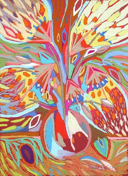"""Tableau """"Fleur d'artifice orange"""" de Vincent Dufour - Pastel sec de 50/65cm [tableau de style figuration libre et nouvelle figuration]"""
