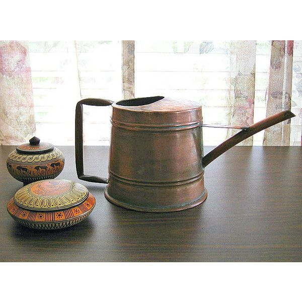 Vintage Watering Can Vintage Copper Decor Turkish Copper Vase Rustic... (€45) ❤ liked on Polyvore featuring home and home decor