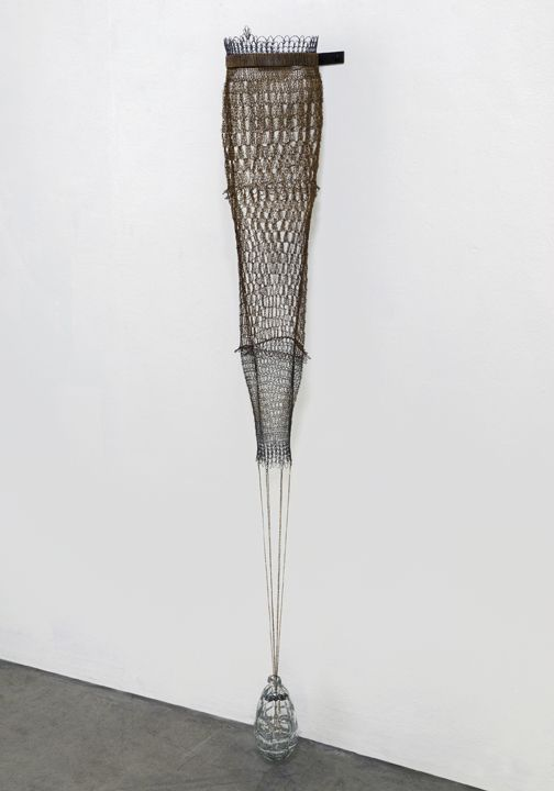 Portrait, Pantaloon, 2015  Crocheted brass, blown glass (by artist Michael Boyd), found and fabricated steel, pigment, resin