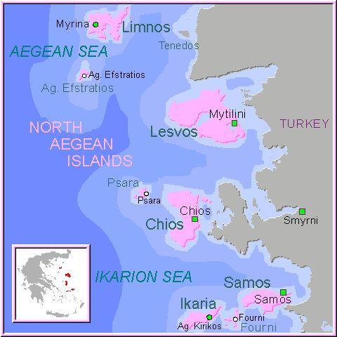 ☼ Grecia Greece ☼ Mapa de las Islas Egeas del Norte del Egeo, Islas Griegas, North Aegean Islands