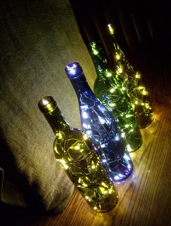 4 Illuminated Bouquet Collection Lighted Glass Wine Bottles - Will light up your Night with ...