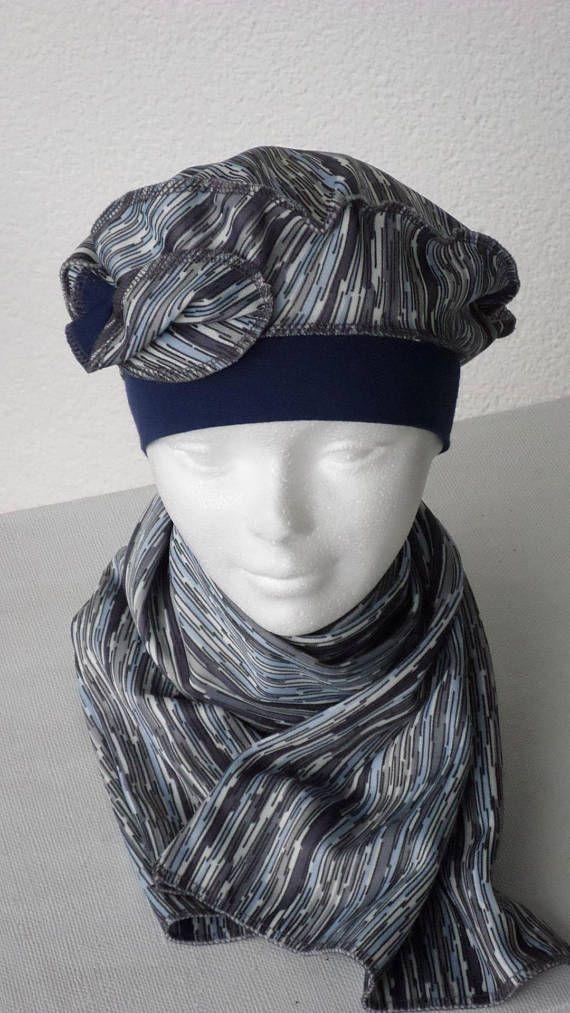 turban bonnet béret chapeau et écharpe foulard créateur lin eva femme en  jersey 643337207f5