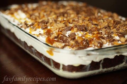 BTS CAKE   1 pkg. devil's food, chocolate, or German chocolate cake mix   1 can Eagle brand milk   caramel ice cream topping   1 (8 oz.) container whipped topping   4-5 Health or Skor bars, chopped  Follow cake directions for 9x13 inch pan; cool 5 minutes. Poke holes into cake with wooden spoon handle. Cool cake.  Heat milk and caramel together then slowly pour over cake. Cool completely. Top with whipped topping. Sprinkle with candy bar chunks and swirls of caramel topping. Refrigerate.