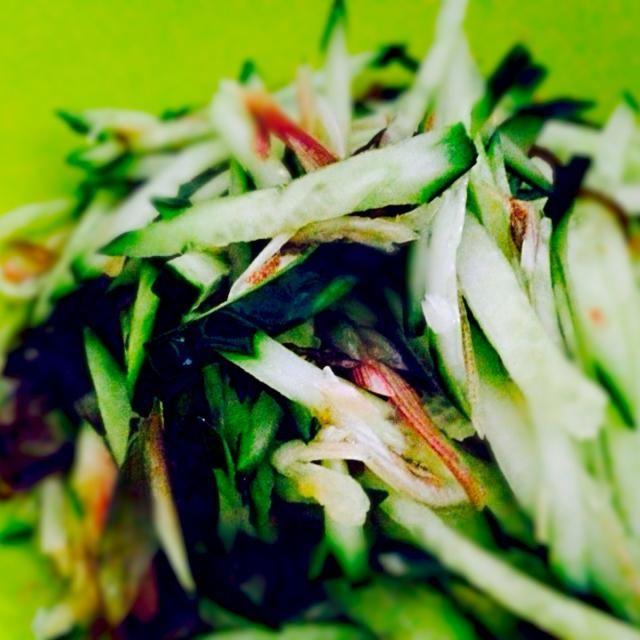 パスタとサラダ⭐️ - 75件のもぐもぐ - 今日もきゅうり、ミョウガ、もずく酢のサラダ by qpchan
