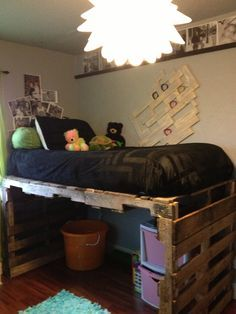 Loft Bed made with Pallets (look what my sister did)                                                                                                                                                                                 More