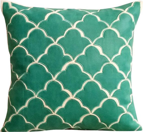 Teal Blue Decorative Throw Pillow Covers Accent Couch Pillow