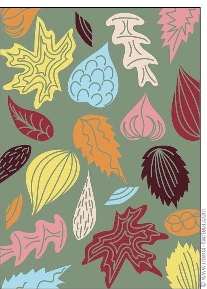 #carte #illustration #couleur #autumn #leaves #color #plantes #café #cards #snail #autumn #plants #leaves #mushroom #coffee Carte Feuilles d'automne pour envoyer par La Poste, sur Merci-Facteur !