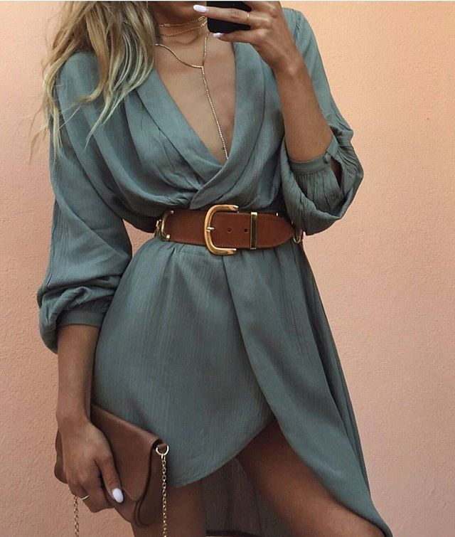 Belted grey-green 3/4 sleeve dress