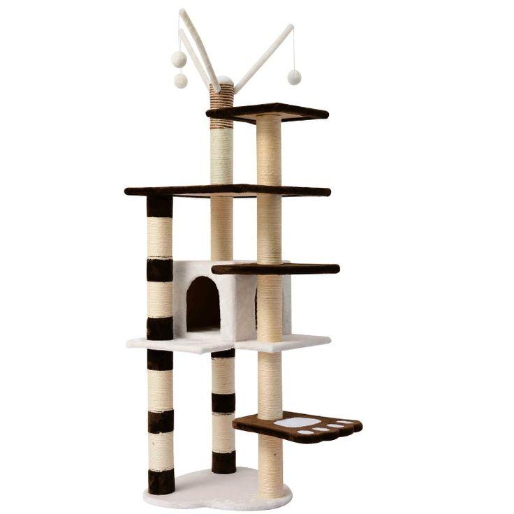 "Click http://petproductsonline.info/pawhutcatscratcherpostcondotowertree To Learn More About The Pawhut 68"" Cat Scratcher Post Condo Tower Tree."