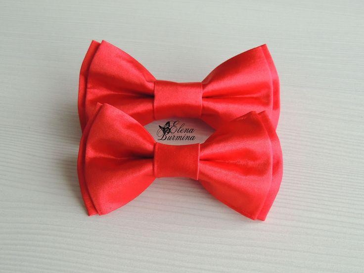 Купить Бабочка галстук папа+сын красные, атлас - ярко-красный, однотонный, атлас, атласная ткань