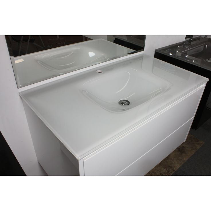 Aurora White Glass Vanity Top 900mm. Matt or Gloss. $199. Only comes in standard sizes; nothing between 900 and 1200mm. #basin