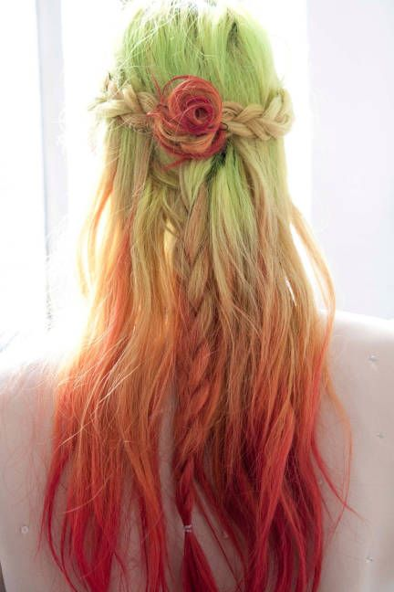 Red, green ombré hair.