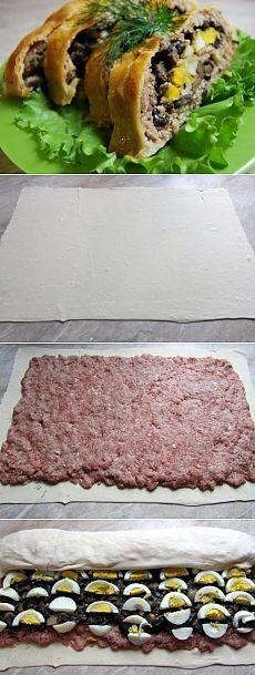 Как приготовить мясной рулет с грибами в слоеном тесте - рецепт, ингридиенты и фотографии