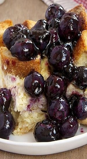 Blueberry Bread Pudding _ This bread pudding has so much going for it besides all those blueberries. Most notably is cream cheese. I adore blueberries and cream cheese together, & that combination doesn't disappoint here.