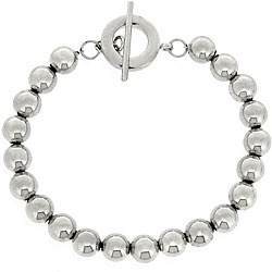 So basic and simple, yet i want it so bad! Sterling silver 8mm Bead Toggle Bracelet. overstock.com
