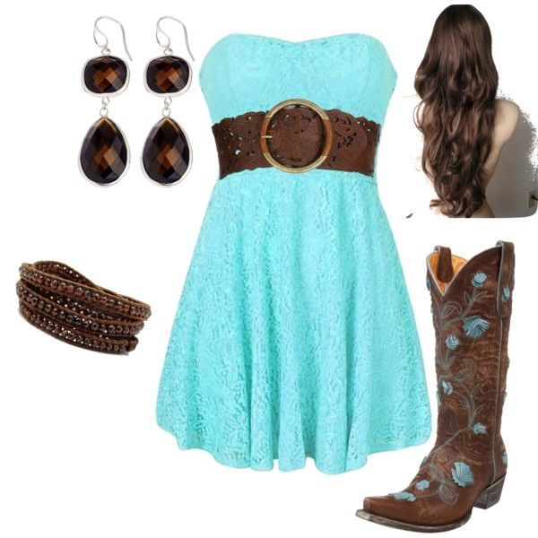 Teal and Brown Cowgirl - Polyvore supper cute!!! Want!