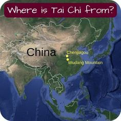 "Map ""where is Tai Chi from"" showing Chenjiaogou and Wudang Mountains in China"