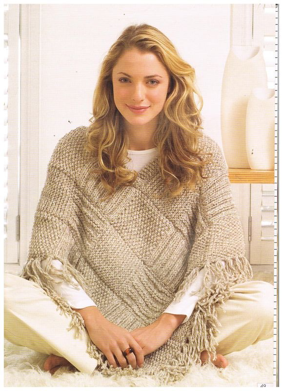 Knitted squares make up this poncho.