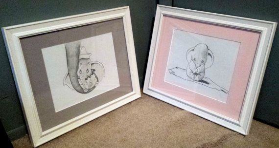 Set of Two Framed and Matted Baby Elephant Dumbo Drawings from Disney's Dumbo- Nursery Art