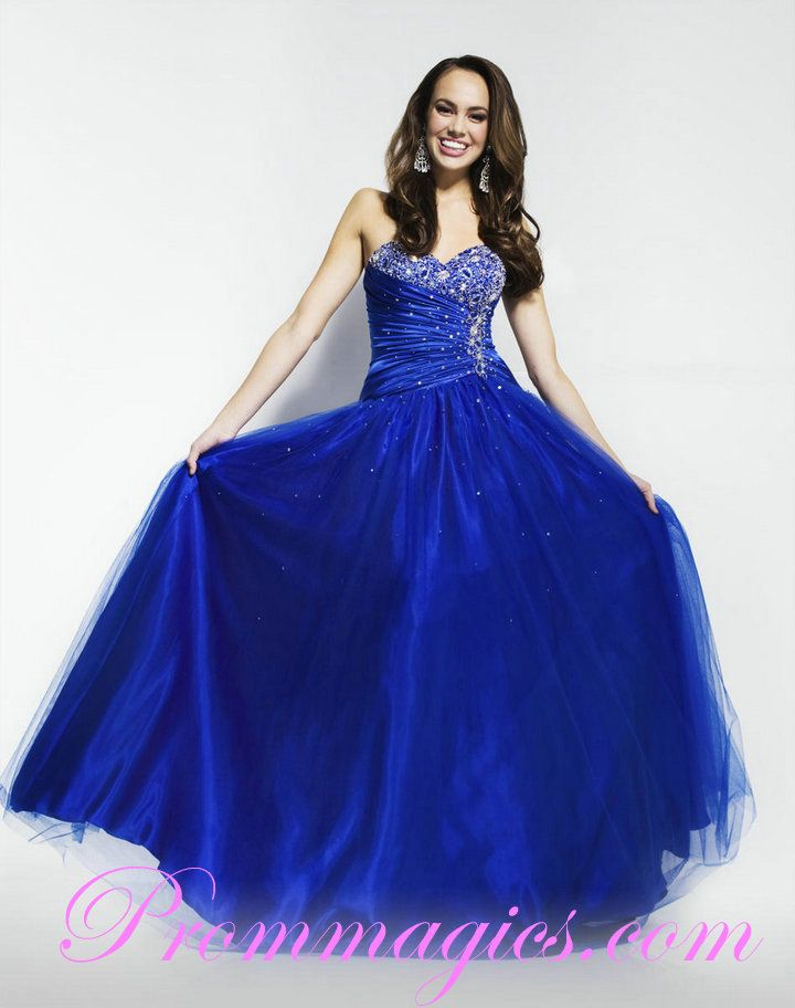 Sweetheart Organza Beading Designer Royal Blue Dress for Prom Store