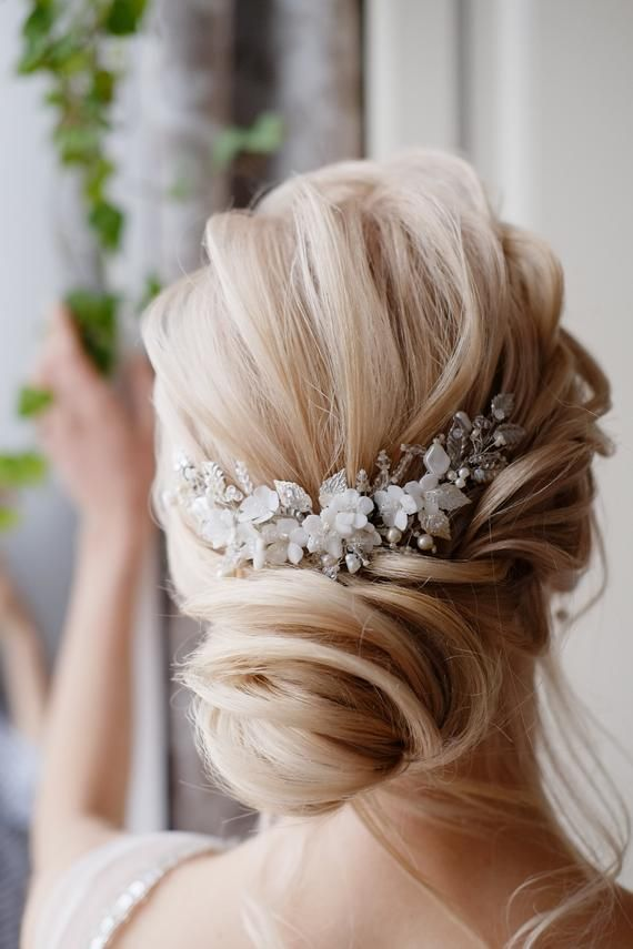 2019 Latest Design Ladies Silver Rhinestone Bridal Wedding Flower Pearls Headband Hair Clip Comb Hottest Styling Tools