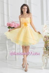 A-line Yellow Strapless Hand Made Flower Organza Dama Dresses