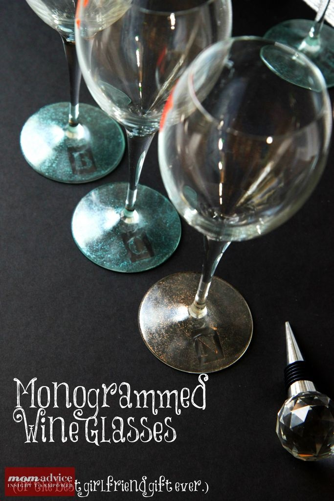 DIY Monogrammed Wine Glasses (or the best girlfriend gift ever) from MomAdvice.com.