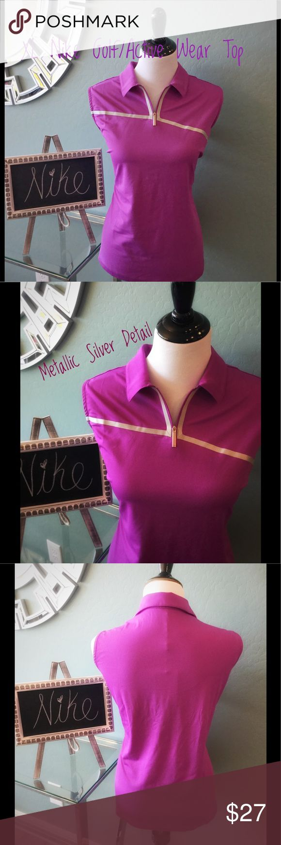 Nike Golf/ Active Wear Sleeveless Top Nike Golf/ active wear top in a size XL true to size. Brand new with tags. Pretty purplish magenta color with silver metallic detail in the front. Perfect for a day on the golf course or for any outdoor activity. Nike Tops