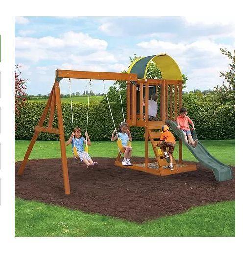 Wooden Swing Set Cedar Premium Kids Swing Set Backyard Jungle  Gym Playhouse