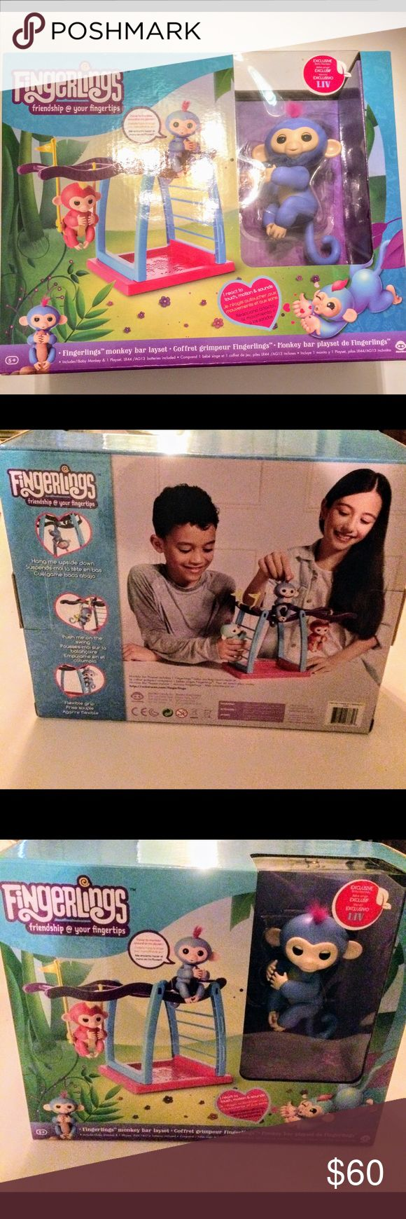 Fingerlings Monkey Bar playset new Error Box Brand new Fingerlings Monkey Bar playset error box may be valuable (instead of saying playset it says layset  on box) see photo fingerlings Other