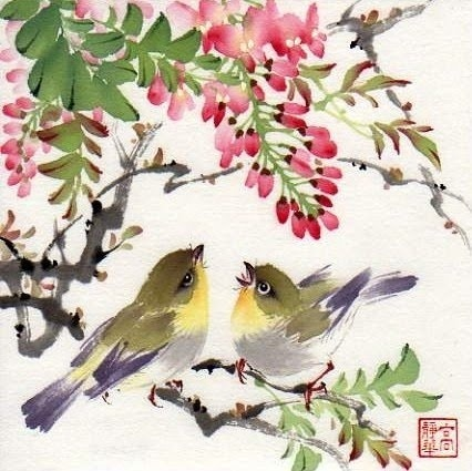 Mountain Life-- watercolor Chinese brush painting on rice paper c  painting by artist Jinghua Gao Dalia
