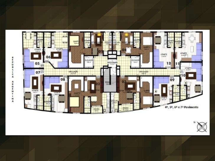 Pavimentos 4, 5, 6 e 7. Projeto Edifício Nilton Negrello. Av. Rep. Argentina, 5649 - Água Verde, Curitiba - PR.