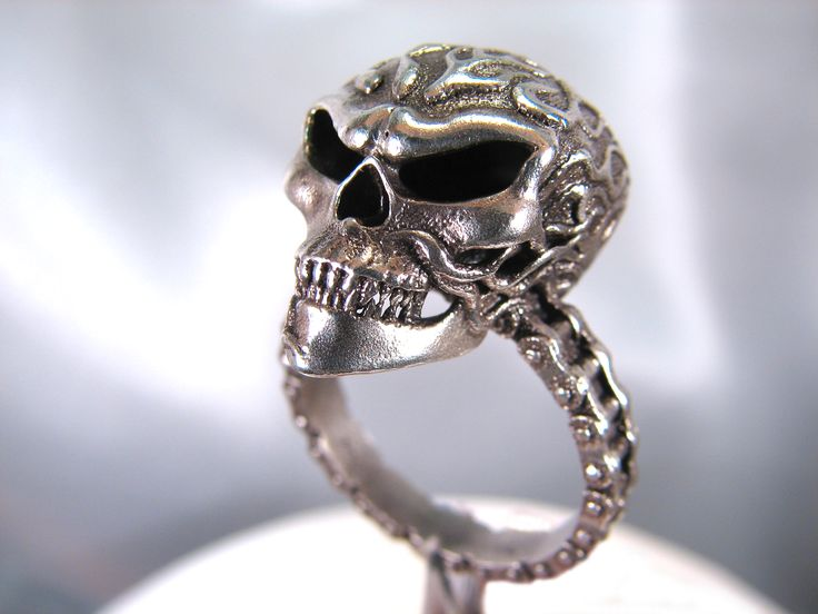 Flaming Skull Ring With Roller Chain by Universe Becoming.  $80