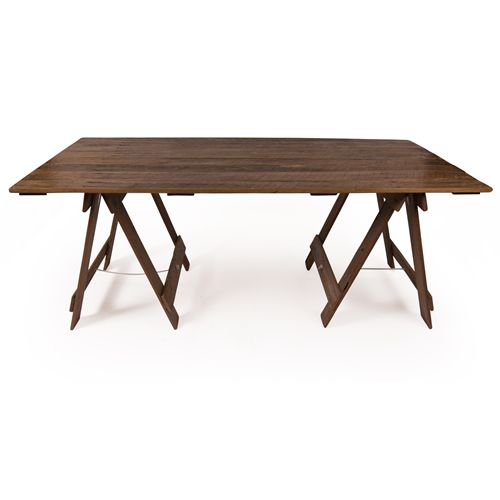 For a darker, richer look, why not try our varnished hardwood trestle table! Made from reclaimed hardwood and varnished to protect from stains, this table is perfect for dining or display