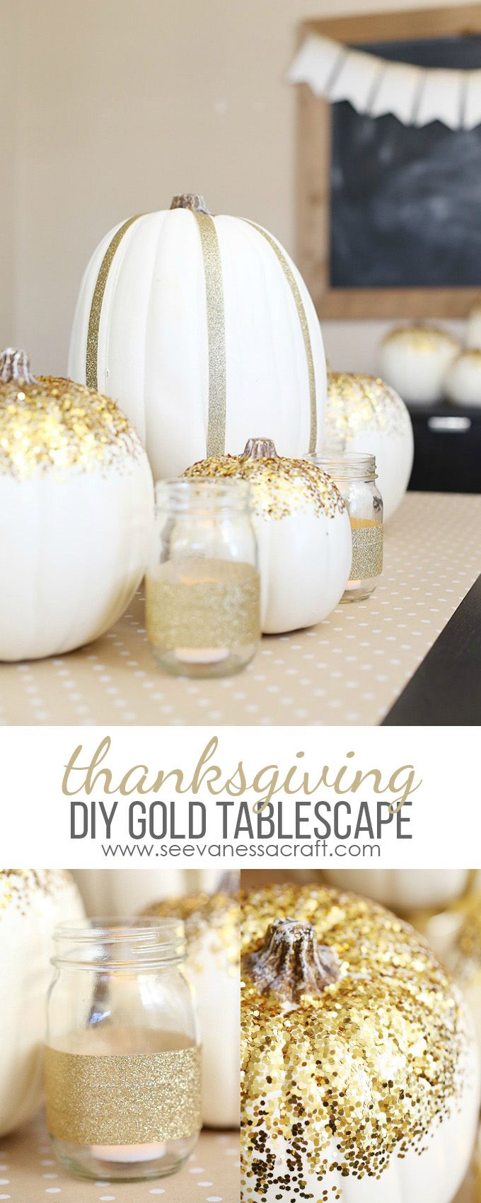 DIY Thanksgiving Gold Tablescape Decor - 3 easy craft projects to transform your Thanksgiving table! #ad #HandsOnCrafty @scotchbrand