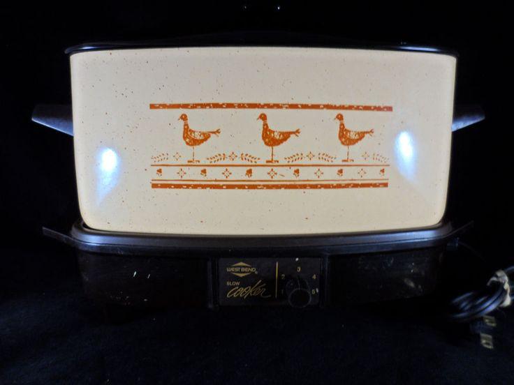"""West Bend Slow Cooker & Griddle 6 Qt. 4.5"""" Deep Vintage Tested  #WestBend"""