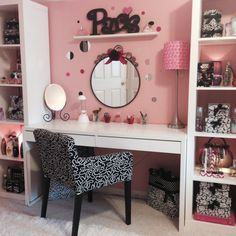 IKEA bookcases and a desk .Make up station for a teen.                                                                                                                                                      More